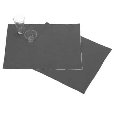 Les 2 Sets De Table Anthracite Autour Du Lin