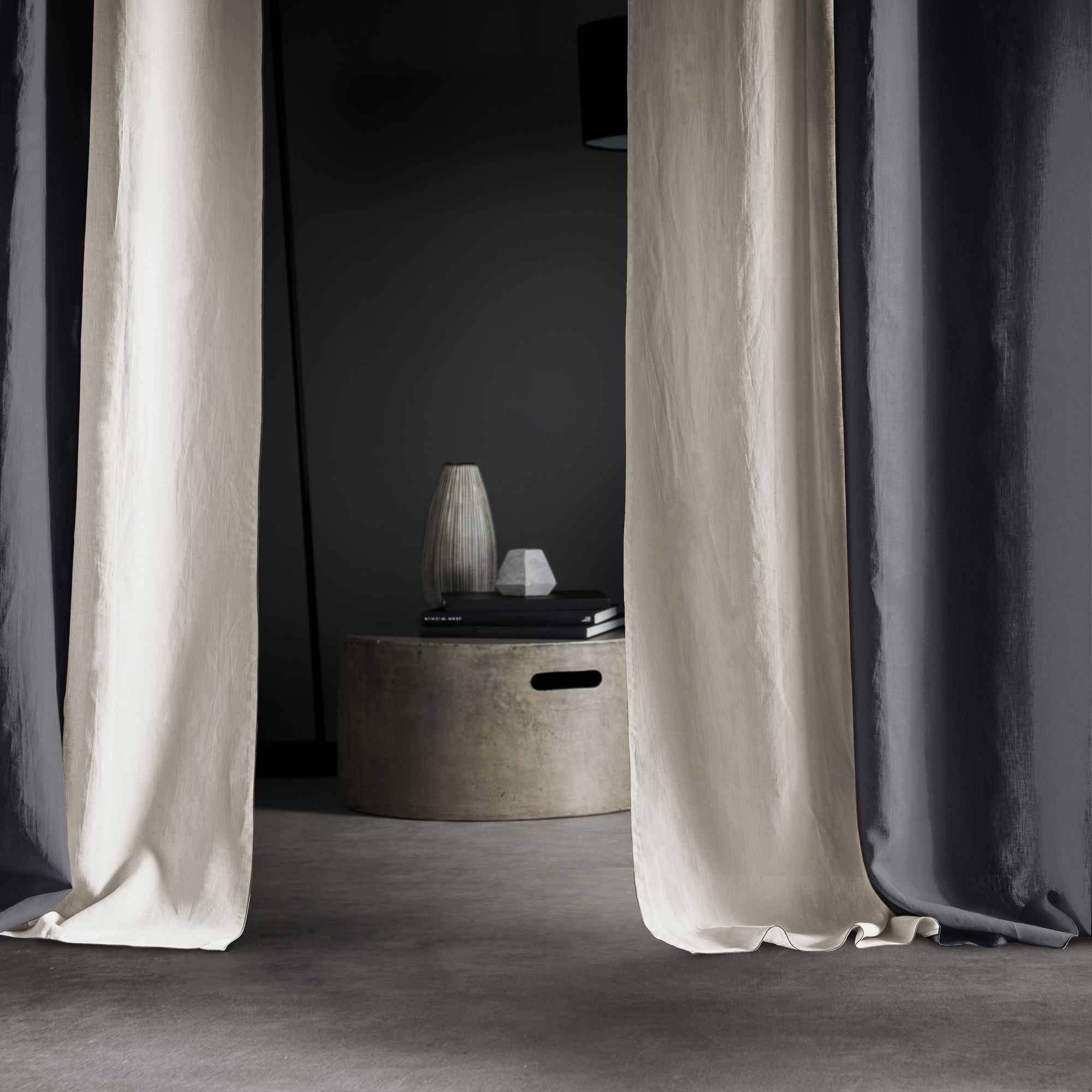 Set Right And Left Curtain Autour Du Lin Anthracite